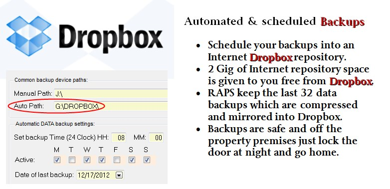 Dropbox automated backups for the RAPS data rapsitory! and the movie rentals software
